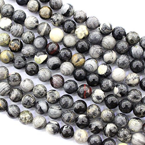 Natural Black Silver Leaf Jasper Round Jewelry Making Gemstone Loose Beads (8mm) (Silver Leaf Jasper Beads)
