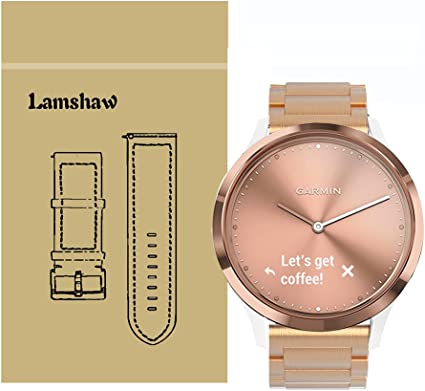 Lamshaw Smartwatch Bands for Garmin Vivomove HR, Stainless Steel Metal Replacement Straps for Garmin Vivomove HR/Garmin Vivoactive 3 Band (Steel ...