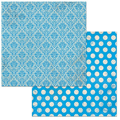 Bo Bunny Brilliant Blue Double Dot Damask Scrapbooking Paper 12