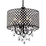 Cheap Edvivi Marya 4-Lights Antique Black Round Beaded Drum Shade Crystal Chandelier Ceiling Fixture | Glam Lighting