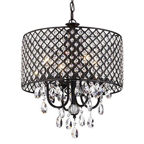 Edvivi Marya 4-Lights Antique Black Round Beaded Drum Shade Crystal Chandelier Ceiling Fixture | Glam Lighting -