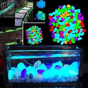 yinuowei 100piezas brilla en la oscuridad Pebbles piedra, luminoso guijarros piedras para jardín florero de Fish Tank Decoración, Manualidades para boda fiesta, colorido