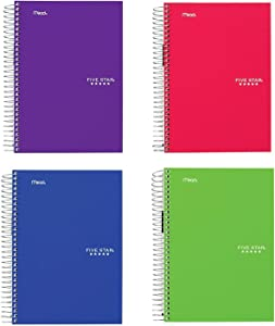 """Five Star Spiral Notebooks, 5 Subject, College Ruled Paper, 180 Sheets, 9-1/2"""" x 6"""", Color Will Vary, 4 Pack (06184)"""