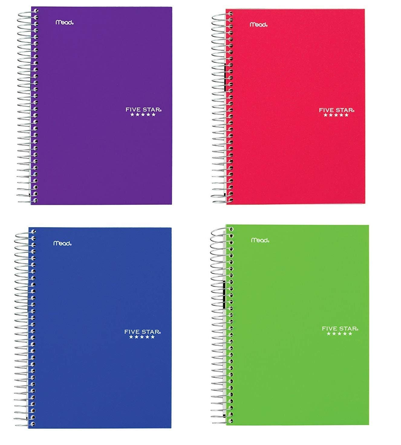 Five Star Spiral Notebooks, 5 Subject, College Ruled Paper, 180 Sheets, 9-1/2'' x 6'', Color Will Vary, 4 Pack (06184)