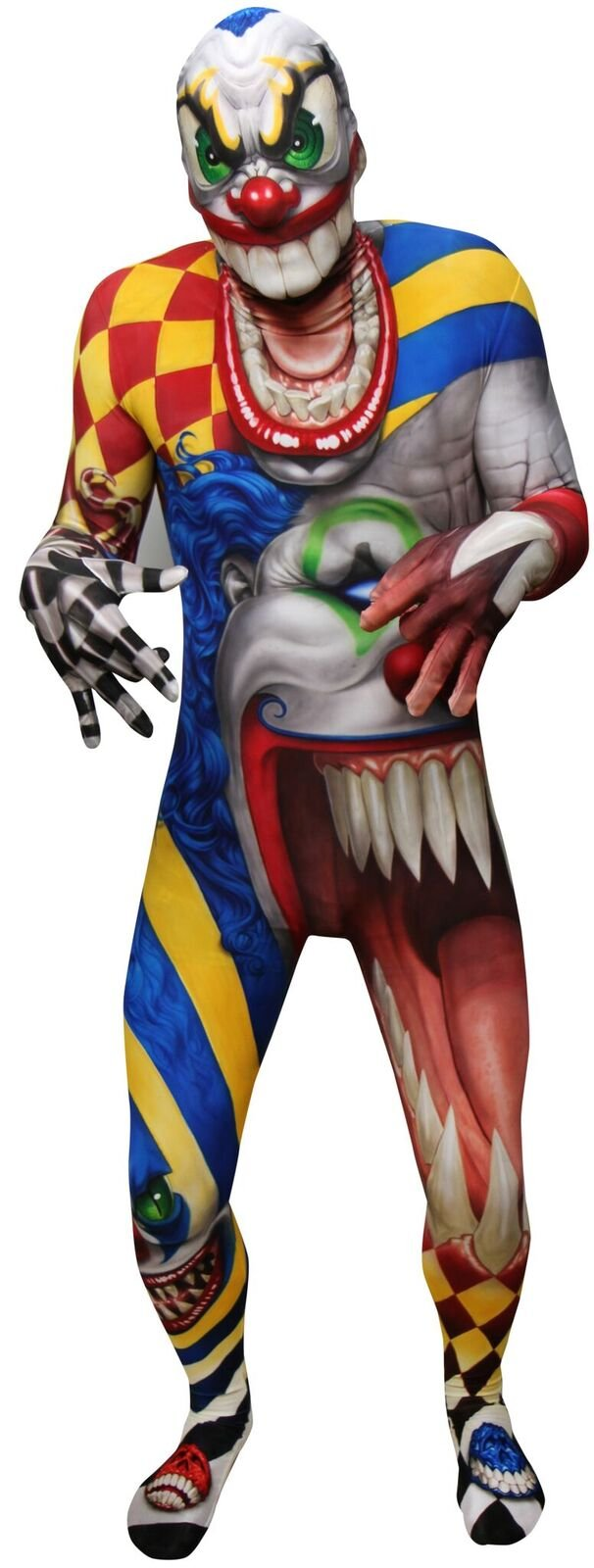 Clown Morphsuit Adults Scary Monster Costume Mens Carnival Fancy Dress Up Large