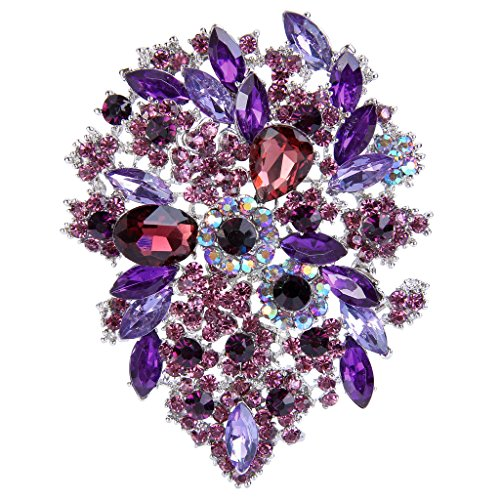 (EVER FAITH Women's Austrian Crystal Vintage Style Flower Leaf Cluster Brooch Pendant Purple Silver-Tone)