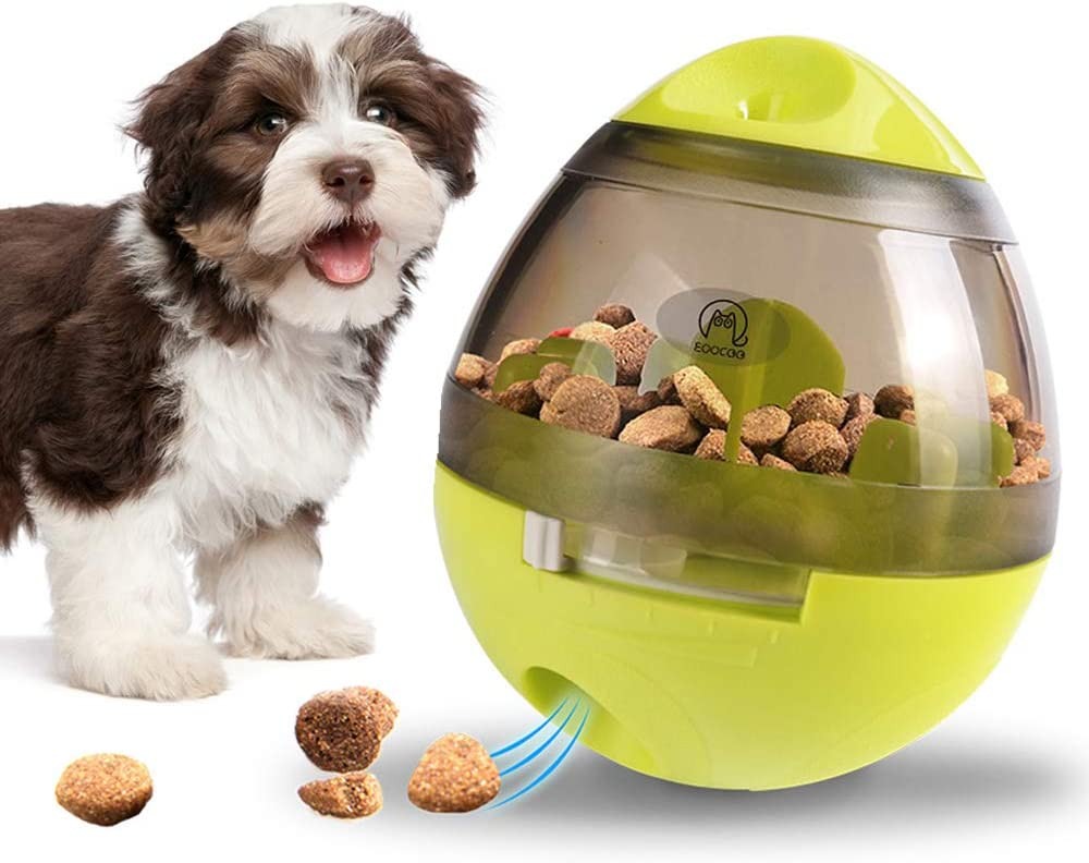 Dog & Cat Toy Pet Food Container Dog Slow Feeder Bowl Cat Puzzle Dispenser, Small Interactive Collapsible Stimulating Play Toy, Adjustable Treats Eat Canister, Funny Maze Gym Ball