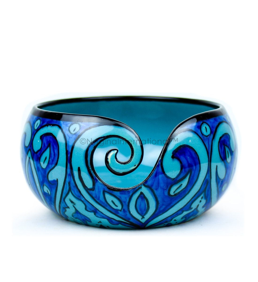 Nagina International Ceramic Attractively Hand Painted Gorgeous Stoneware Yarn Ball Storage Bowl with Innovative Dispensing Curl | Knitting & Crochet Accessions (Large, Deep Water Blue)