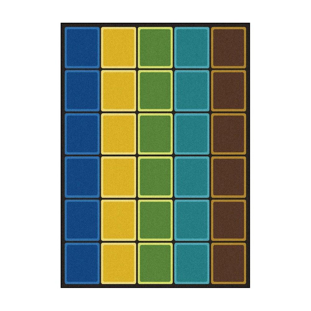 Joy Carpets Kid Essentials Early Childhood Blocks Abound Rug, Earthtone, 5'4'' x 7'8''