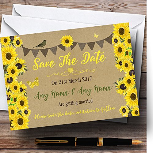 Rustic Sunflowers Vintage Personalized Wedding Save The Date Cards