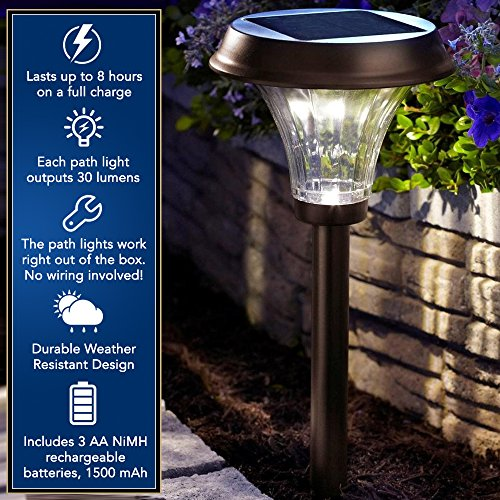 Moonrays 91754 Richmond Solar LED Metal Path Light, Rubbed Bronze (Pack of 2) by Moonrays (Image #2)