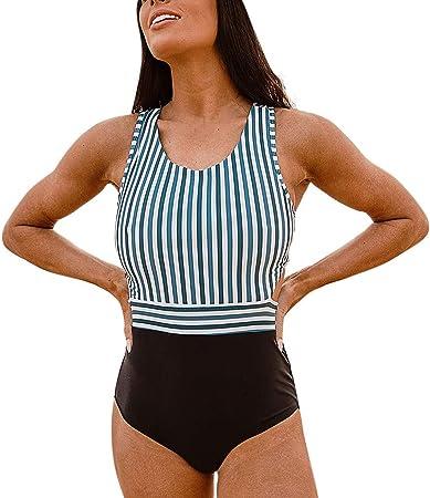 Smileq Traje De Baño Para Mujer Tallas Grandes Rayas Con Cremallera Vendaje Bikini De Cintura Media Conjunto Mono Ropa De Playa Amazon Es Deportes Y Aire Libre