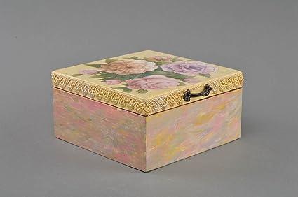 Caja de madera para te hermosa hecha a mano en tecnica de decoupage