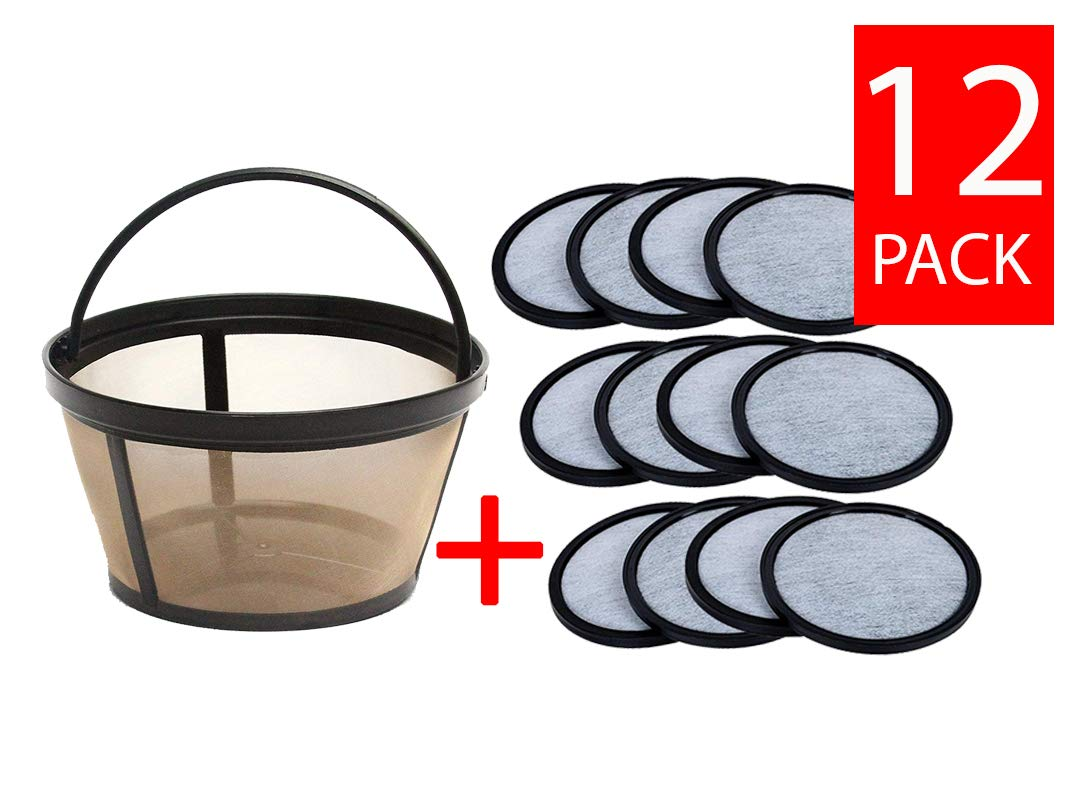 Premium Replacement Charcoal Water Filter Disks for Mr. Coffee Machines [12 Pack] + Reusable Basket Coffee Filter fits Mr. Coffee