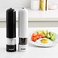 Kleva Electric Pepper and Salt Grinder - Quick and Controlled Seasoning with Built in LED Light! (White)
