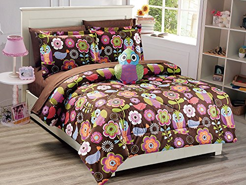 (Fancy Collection 8pc Full Size Comforter Set Owls Flowers Brown Pink Purple White Green Orange With Furry Pillow New)