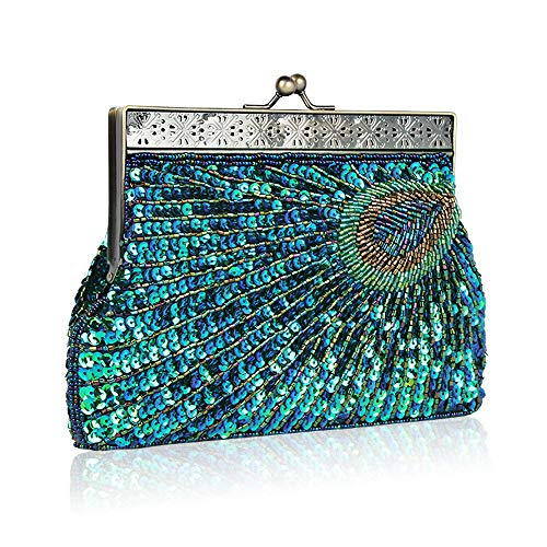 Exquisite for Bag Bags Ball Bridal Evening Peacock Glitter Cluth Vintage Peacock Women Wedding Party amp; Handmade Bag Beads Beaded Enjoysports Handbag Sequin awgBPRq
