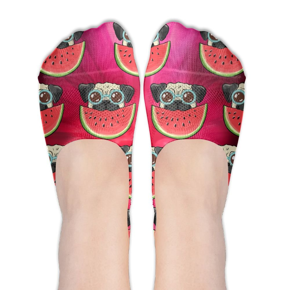 Pug Dog In Sunglasses Eating Watermelon Women's Thin Casual No Show Socks Non Slip Flat Boat Line