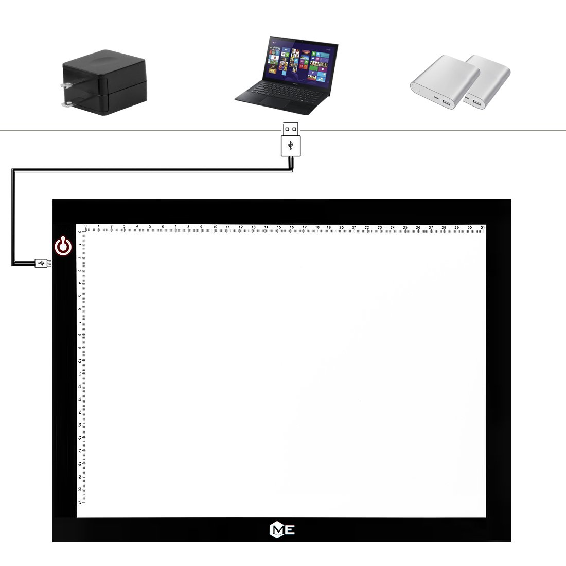 Dimmable A4 LED Tracer Light Box Slim Light Pad, ME456 USB Power Drawing Copy Board Tattoo Tracing LED Light Table for Artists Designing, Animation, Sketching, Stenciling (Black) by ME456 (Image #9)