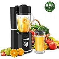 Finether Licuadora al Vacío 3 en 1, Licuadora para Verduras y Frutas, Antioxidante, Vidrio de Vacío de 1,5 L y Vasos de Plástico de 800 ML, 500W, 6 Cuchillas, 5 Velocidades, 21.000 r/min, sin BPA