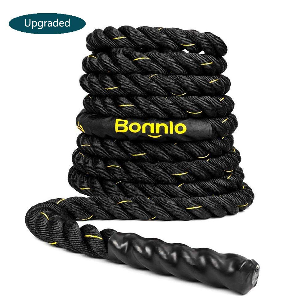 Bonnlo Exercise Rope 1.5''/ 2'' Width Poly Dacron 30/40/50ft Length, Battle Rope Workout Training Undulation Rope Fitness Rope Climbing Rope (1.5'' x30Ft Length)