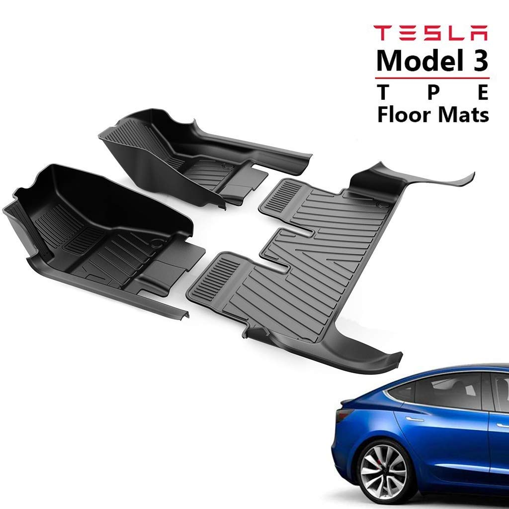 Hiyougen TPE Floor Mats Set for Tesla Model 3, Heavy 5D Upgraded Full-Edge Protection Fit All Weather Waterproof Front and Rear Interior Liner Mats Set by Hiyougen