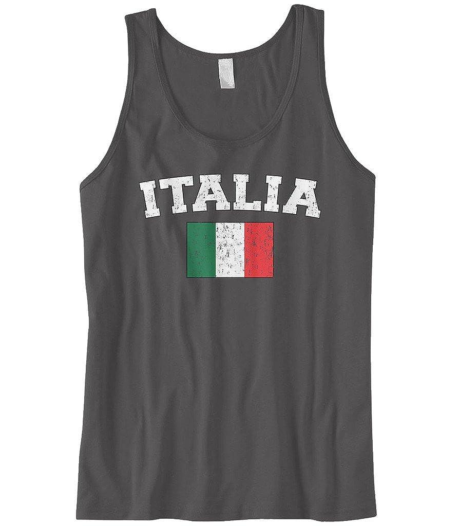 Cybertela Mens Faded Distressed Italia Flag Tank Top