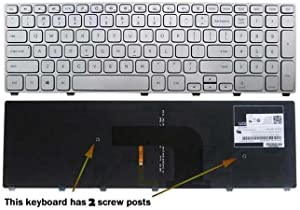 Replacement Backlit Keyboard Silver Frame For Dell Inspiron 17 7000 7737 7746 P4G0N 0P4G0N NSK-LH0BW 01 9Z.NAVBW.001 MP-13B53USJ442, US Layout Silver Color