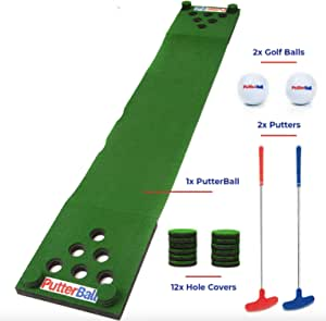 PutterBall Golf Beer Pong Game Set - Includes 2 Putters, 2 Golf Balls, Green Putting Beer Pong Golf Mat & Golf Hole Covers - Best Backyard Party Golf Game Set