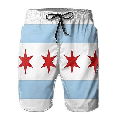 2bdbca90f0 USA Flag Chicago Flag Print Men's Beach Board Shorts Swimming Trunks |  Amazon.com