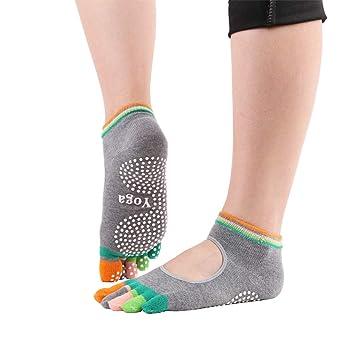 Antcher 2 Pares de Calcetines de Yoga Antideslizantes con ...