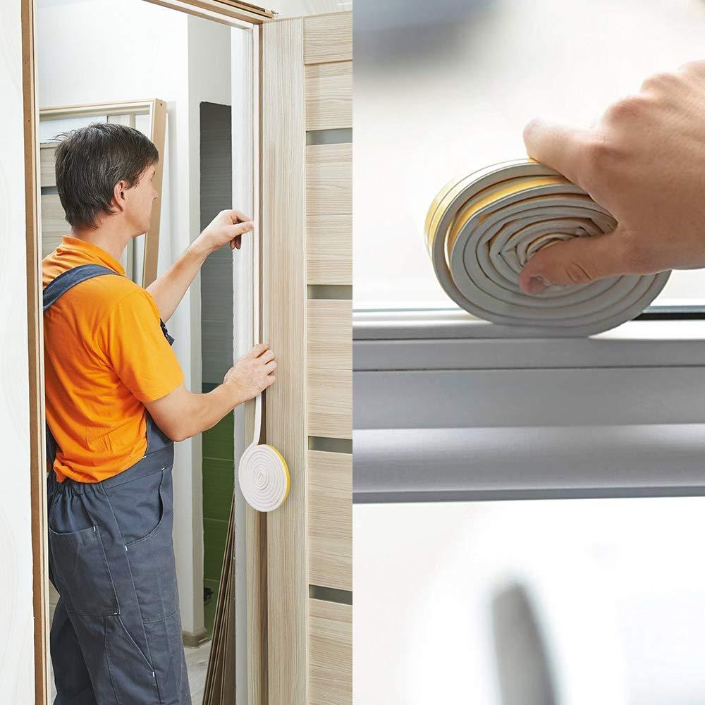 YuamMei 4 tiras de goma para ventana marr/ón cinta aislante de colisi/ón para puerta ventana y bloqueador de viento cinta autoadhesiva de espuma