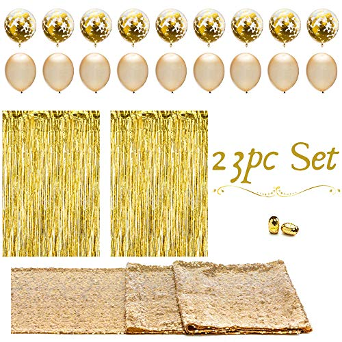 Golden Birthday Party Supplies (Artunique 23pc Gold Party Decorations & Party Supplies Kit   Huge Latex and Confetti Gold Balloons (18)   Gold Sequin Table Runner (1)   Gold Fringe Curtain Backdrop (2)  )