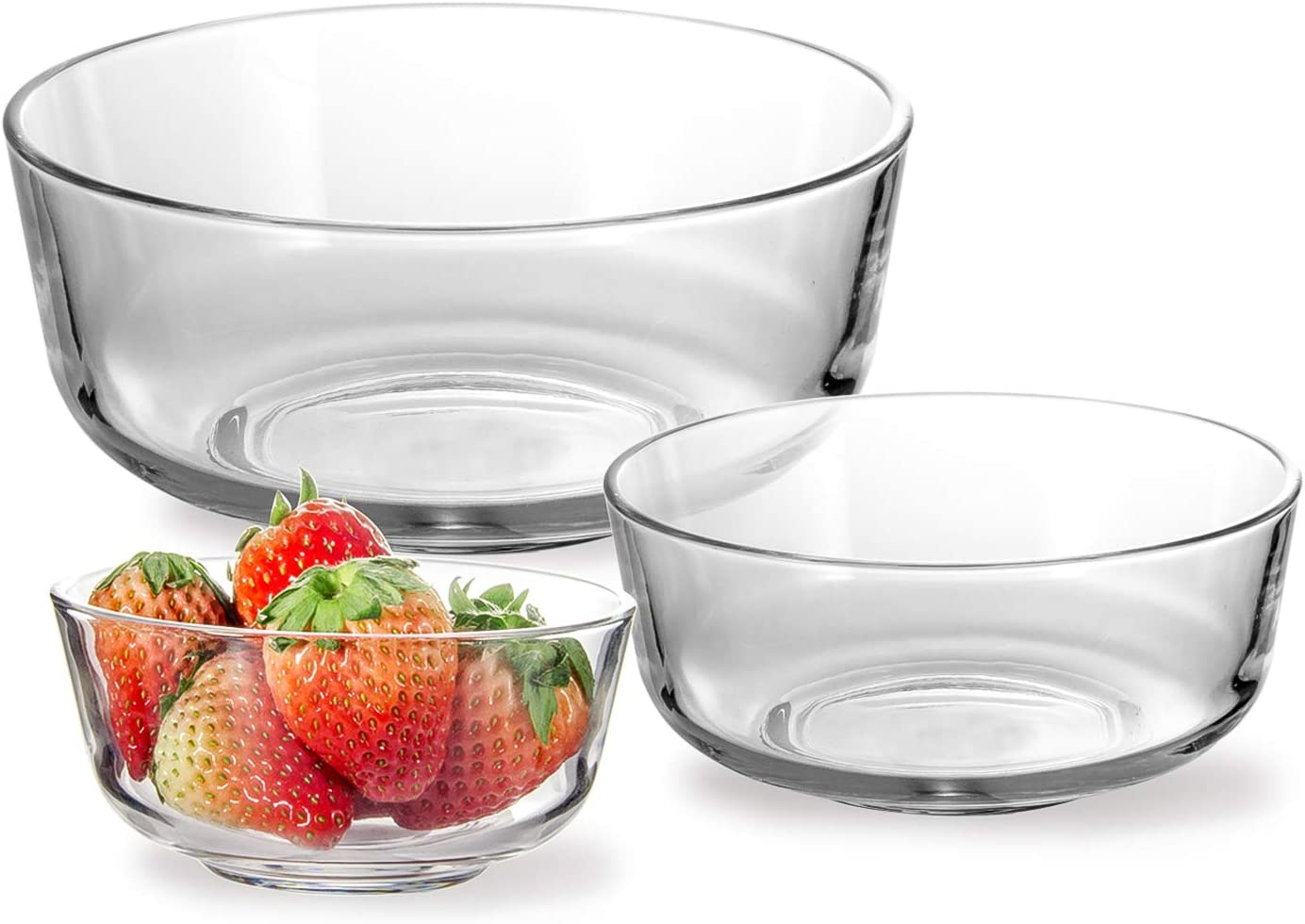3 Pcs Glsss Mixing Bowls,WERTIOO 6.9 Inch+ 5.6 Inch + 4.4 Inch Stackable Bowl Set for kitcken,dishwasher, freezer, oven, microwave Safe