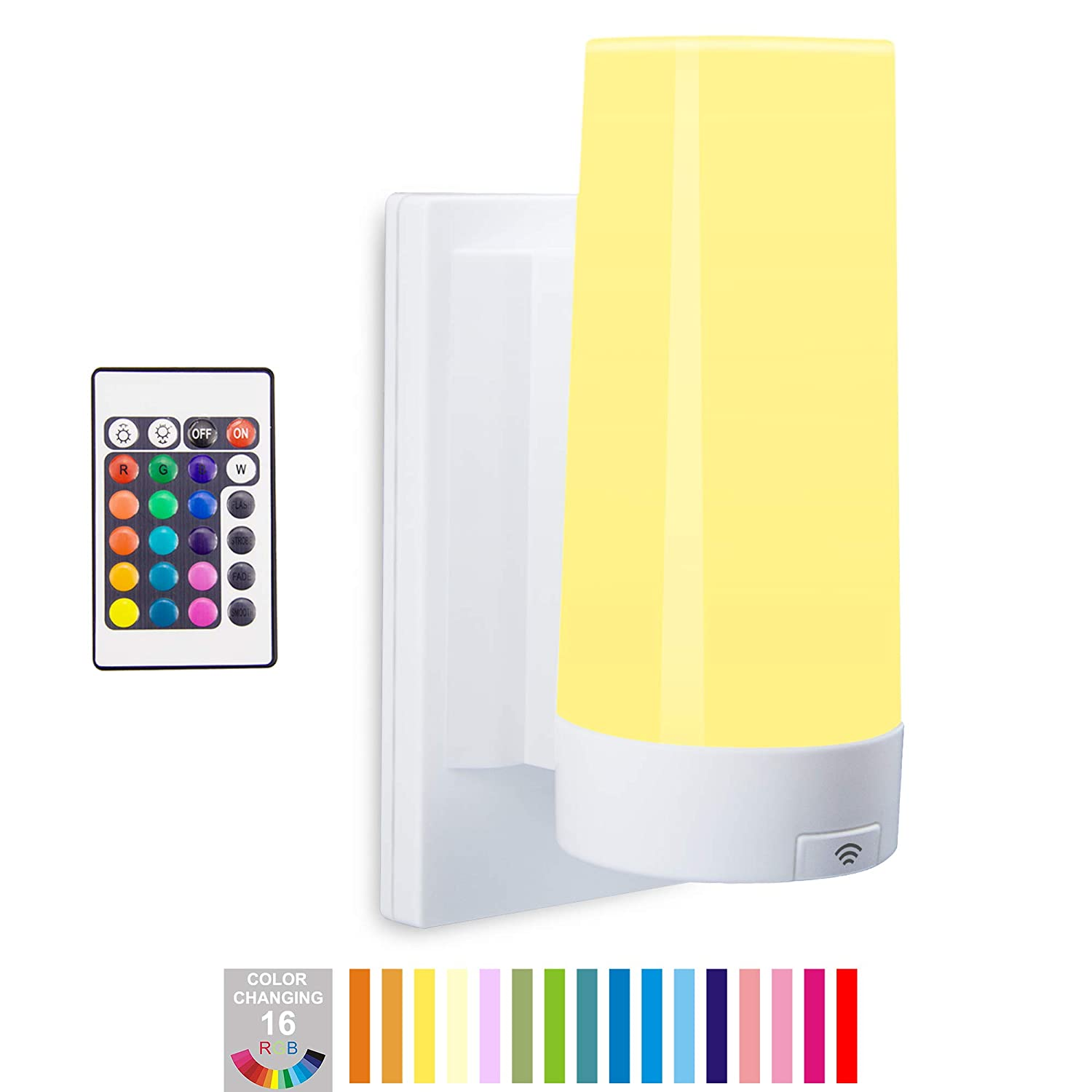 BIGLIGHT Wireless Battery Operated Bright LED Wall Sconce Light, 16 Color Changing, Remote Controlled, Dimmable, RGB Stick on Lamp for Hallway Bathroom Bedside Hall Kids Bedroom Corridor Mood Lighting