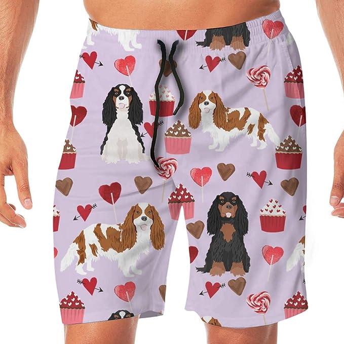 Cavalier King Charles Spaniel Abrigos Mixtos San Valentín Cupcakes Corazones Tela para Perros Purple_907 Hombres Troncos