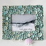 Beach Decor Nautical Seashell Frame w Aqua Limpet Shells - 8x10'' Photo Opening - #LF810