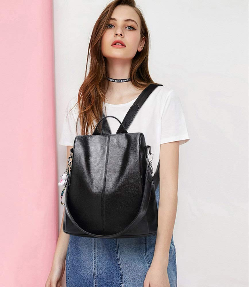 Women Travel Leisure PU Leather Backpack XJBHD Fashion Backpack Shoulder Bag Color : Black, Size : One Size
