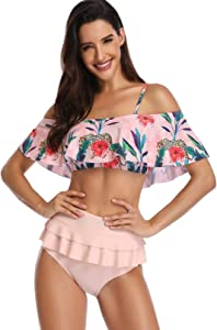 ECOLIVZIT Two Piece Swimsuit for Women Ruffled Bathing...