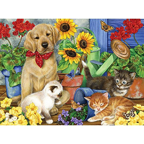 Bits and Pieces - 300 Large Piece Jigsaw Puzzle for Adults - Babysitting, Puppy, Kitten - by Artist Jane Maday - 300 pc Jigsaw