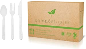100% Eco-Friendly Compostable Cutlery Set - 300 pieces (100 Forks   100 Spoons   100 Knives) - Durable disposable utensils made from renewable plant-based resources