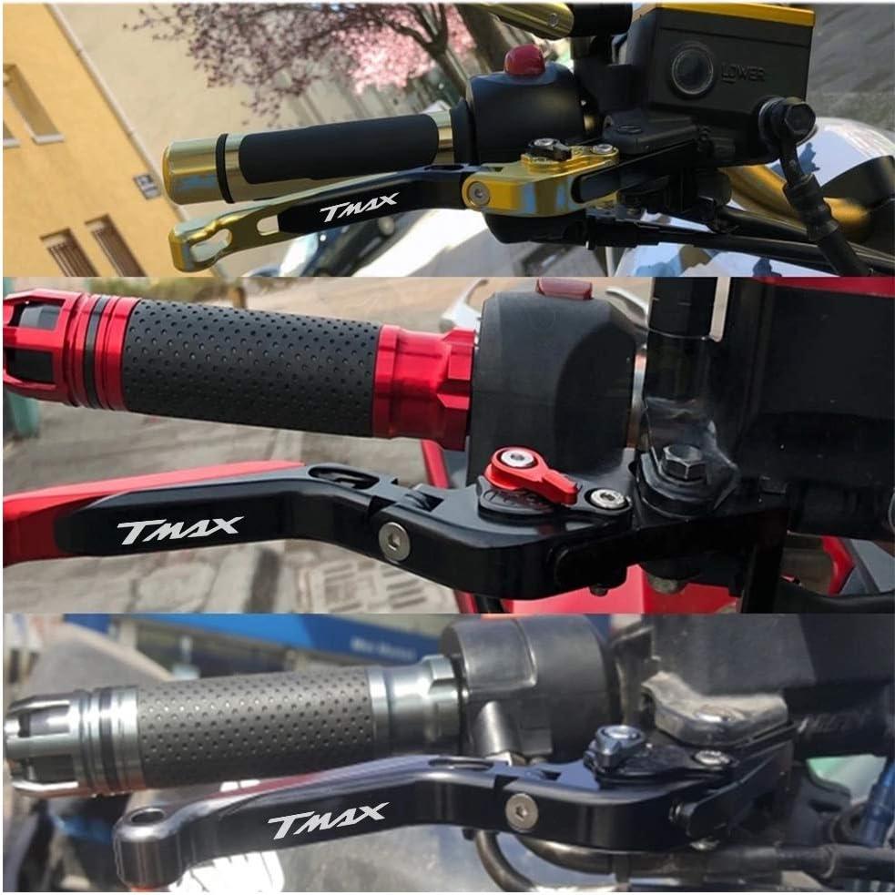 Motociclo Regolabile Leva della Frizione del Freno CNC Alluminio per Yamaha Tmax 530 500 2008 2009 2010 2011 2012 2013 2014 2015 2016 2017 2018-Nero+Nero+Rosso+Rosso
