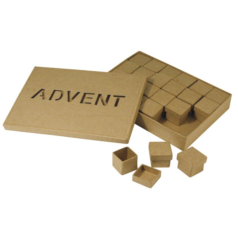 RAYHER Papier Mache Mini Advent Calendar Box–Natural–20x 14x 3cm 2Units