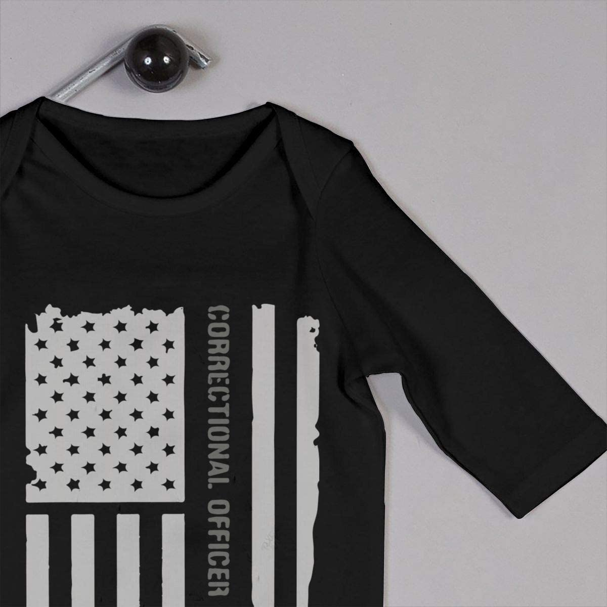 YELTY6F Thin Silver Line Correctional Officer Printed Boys Girls One-Piece Suit Long Sleeve Pajamas Black