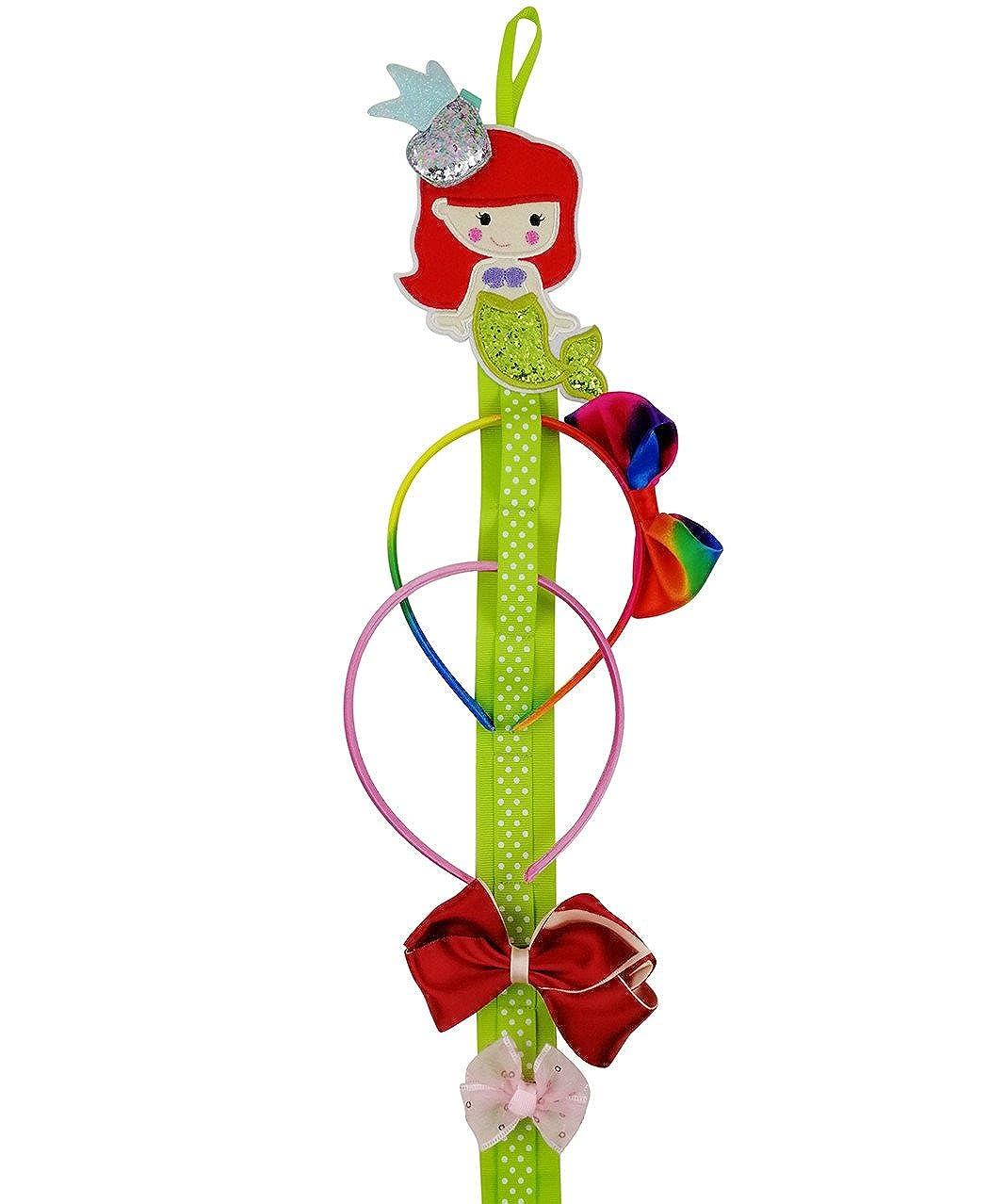 Hixixi Baby Girls Mermaid Ribbon Headband and Hair Clips Holder Storage Organizer F012