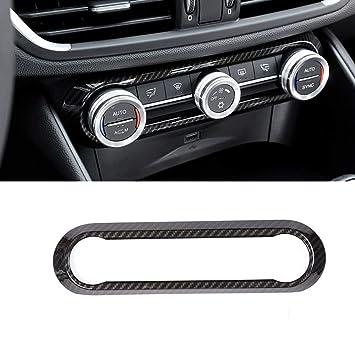 Car decoration Qiilu Car Interior Air Conditioner Knob Panel Frame Cover Trim for Alfa Romeo Stelvio//Giulia