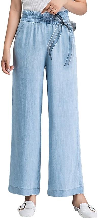 Xinwcanga Mujer Cintura Alta Flojos Vaqueros Casual Rectos Pantalones De Pierna Ancha Amazon Es Ropa Y Accesorios