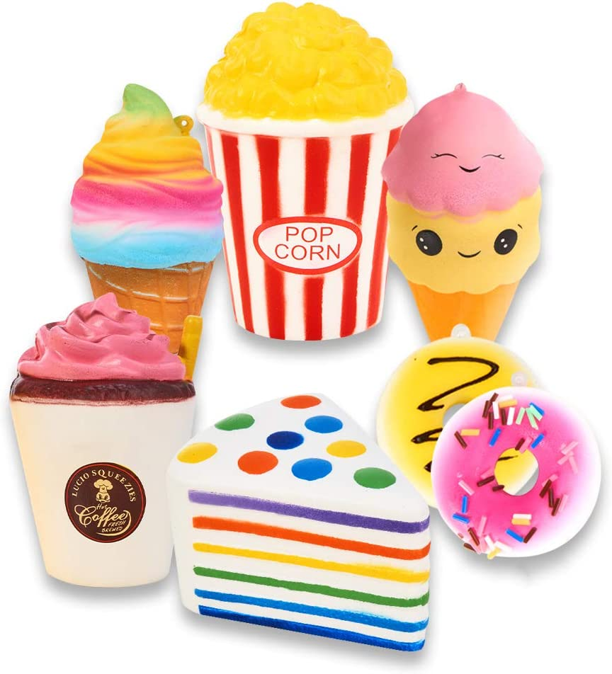 B079NCBCP4 Slow Rising Jumbo SQUISHIES Set Pack of 7 - Rainbow Triangle Cake, Frappuccino, Popcorn, Donuts X2 & Ice Cream X2, Kawaii Squishy Toys or Stress Relief Toys Plus Bonus Sticker Come with The Squishys 61fKsvYx0IL