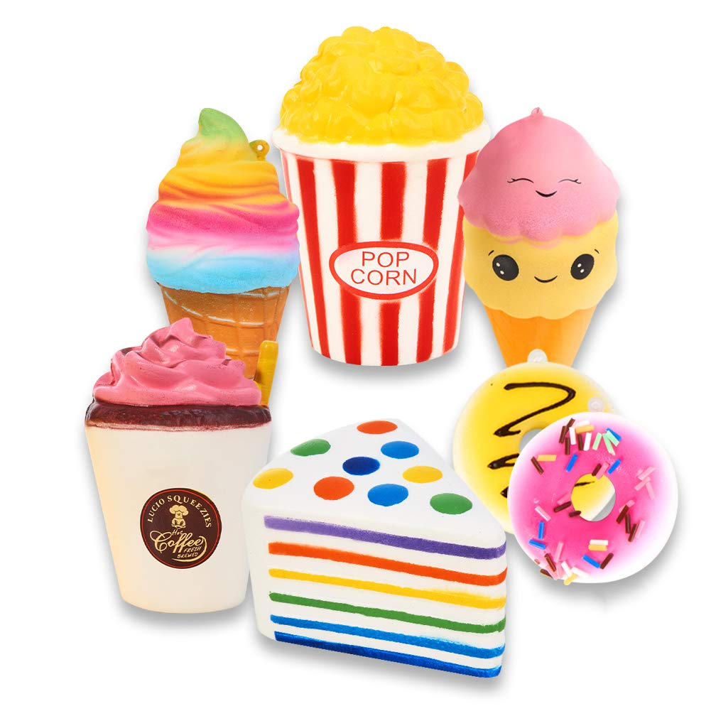 Slow Rising Jumbo SQUISHIES Set Pack of 7 - Rainbow Triangle Cake, Frappuccino, Popcorn, Donuts X2 & Ice Cream X2, Kawaii Squishy Toys or Stress Relief Toys Plus Bonus Sticker Come with The Squishys