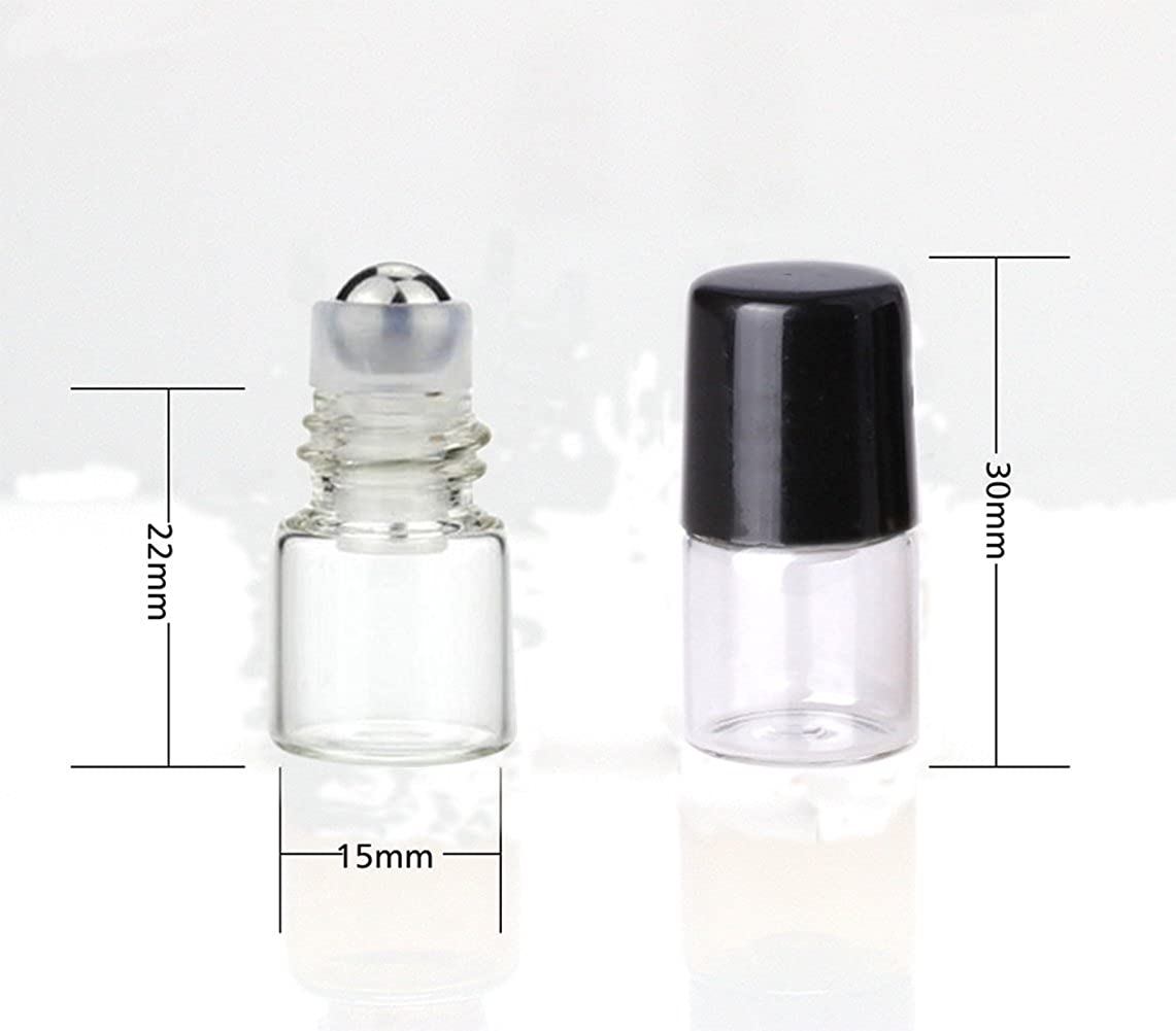 EMPTY GLASS BOTTLES VIAL WITH ROLLER AND CAP REFILLABLE GLASS SAMPLE GLASS